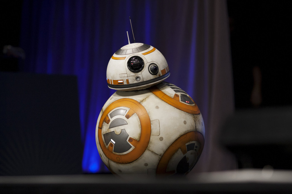 A robot character crosses the stage at the kick-off event of the Star Wars celebration convention in Anaheim